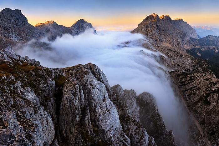 Misty Falls of Julian Alps